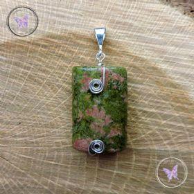 Unakite Silver Wire Wrapped Pendant